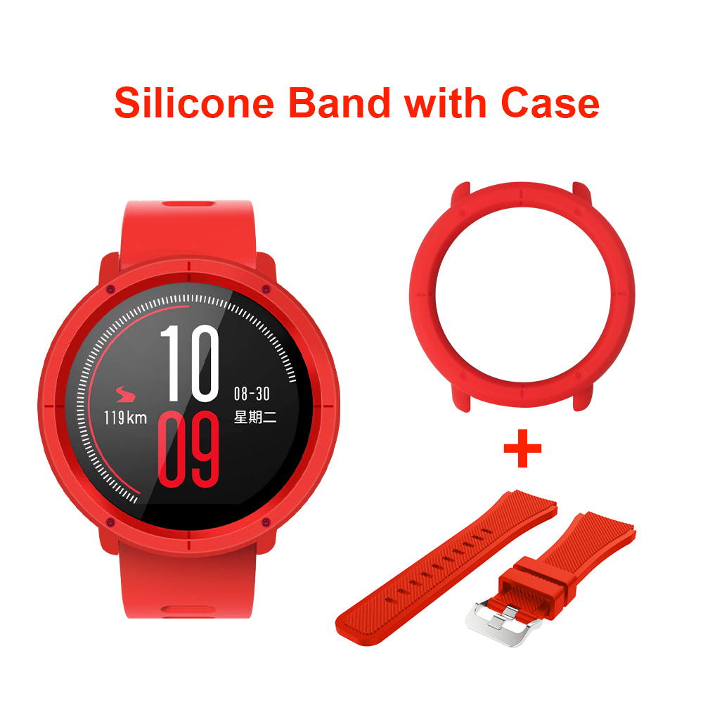 SIKAI 22mm Soft Silicone Watch Band With Protective Case for Huami Amazfit Pace Bracelet +Case Smartwatch Band Wristband Straps sikai 22mm soft silicone watch band with protective case for huami amazfit pace bracelet case smartwatch band wristband straps