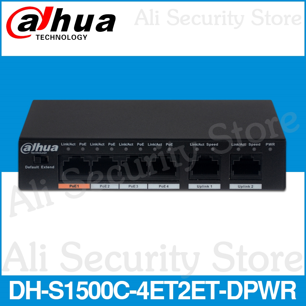 Dahua 4ch PoE Switch DH-S1500C-4ET2ET-DPWR 4CH Ethernet Switch With 250m Power Transit Distance Support PoE PoE+&Hi-PoE Protocol