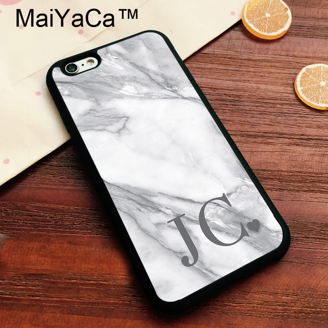 MaiYaCa MARBLE INITIALS Love Heart PERSONALISED Phone Cases For Apple IPhone 8 Soft TPU Coque