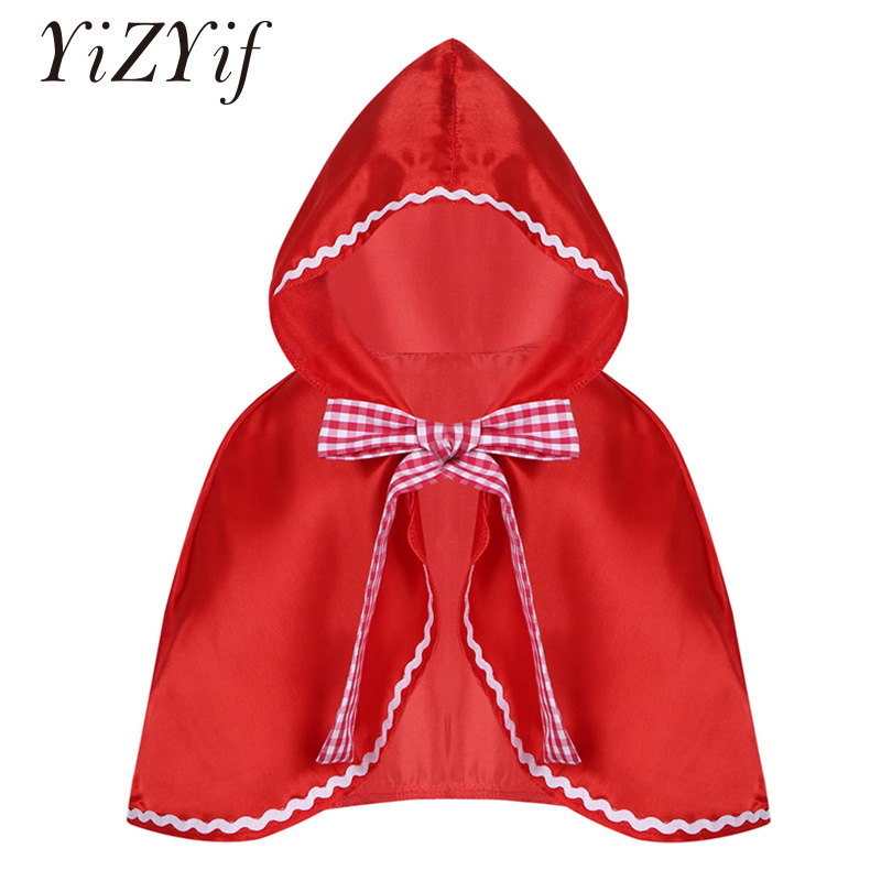 YiZYiF Red Kids Girls Hooded Cloak Cape Halloween Cosplay Party Costume Dress Up Hooded Cloak Baby Little Girls Red Riding Hood