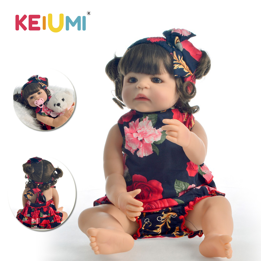 KEIUMI Lovely Reborn Menina Boneca 55 cm Full Body Silicone 22 Reborn Baby Doll With Curls