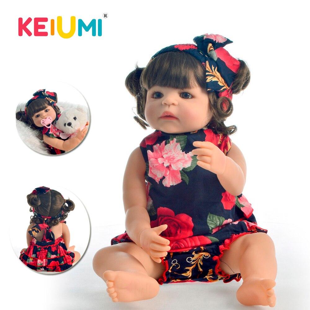 """Keiumi adorável renascer menina boneca 55 cm de corpo inteiro silicone 22 """"reborn bebê boneca com cachos princesa realista para o miúdo playmate"""
