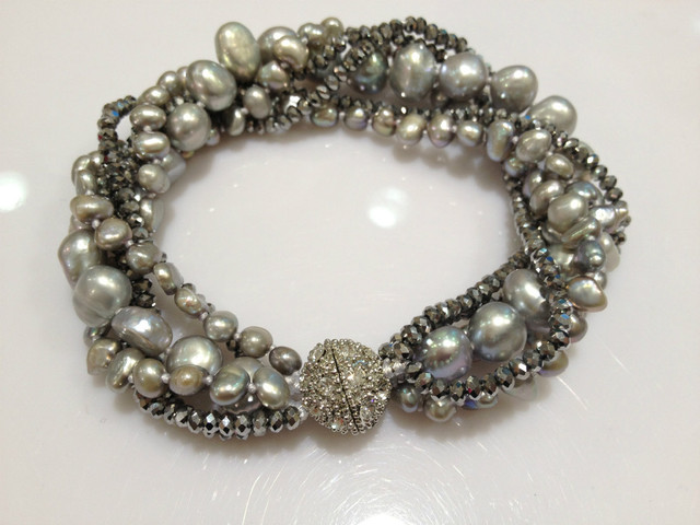 Grey Freshwater Pearl Bracelets  Cultured Real Pearls With Crystal Multilayer Twist Bracelet Natural Free Shipping Trending