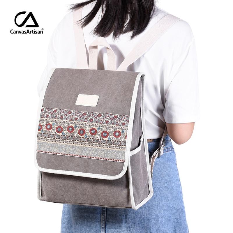 Купить с кэшбэком Canvasartisan New Women's Canvas Backpack Retro Style Floral School Bookbag Laptop Backpacks Bags Female Casual College Daypack