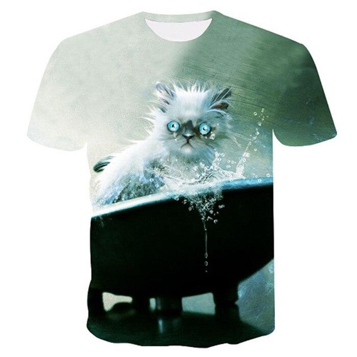 Новинка, футболка для мужчин/женщин, 3d принт, мяу, черный, белый, кот, хип-хоп, Мультяшные футболки, летние топы, футболки, модные 3d футболки, M-5XL - Цвет: txu-149