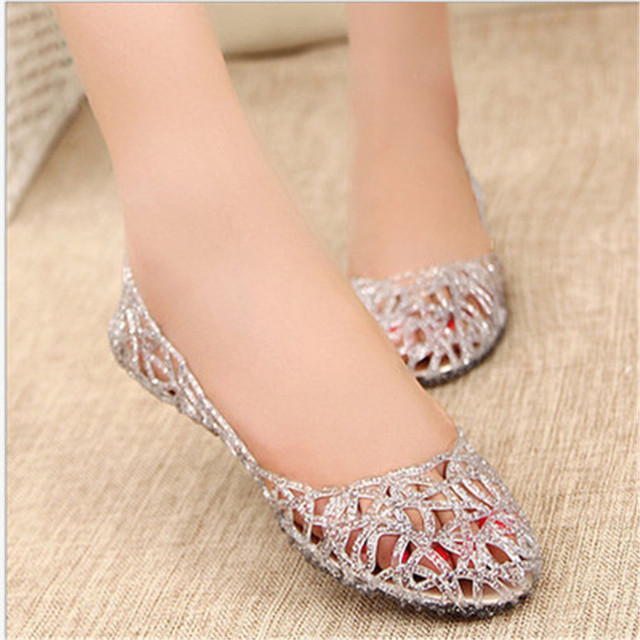61dc8e8c1079 Summer women glitter jelly shoes plastic PVC crystal hollow sandals casual  nest flat shoes silver pink gold