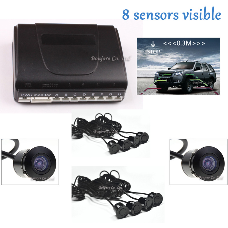 2017 Latest Dual Core CPU Car Parking Sensor 8 Reversing Radar System with car Rear view Camera and car front camera Sound Alert koorinwoo universal dual core cpu car