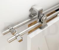Diyhd 5ft/6ft/6.6ft/8ft матовый обход раздвижные сарай композицию деревянная дверь комплект Нержавеющаясталь обход двери сарая топ Mount Kit