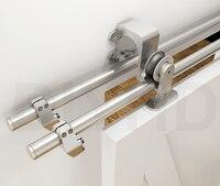 DIYHD 2 44m Bypass Big Wheel Sliding Barn Wood Door Track Hardware Interior Closet Door Kitchen