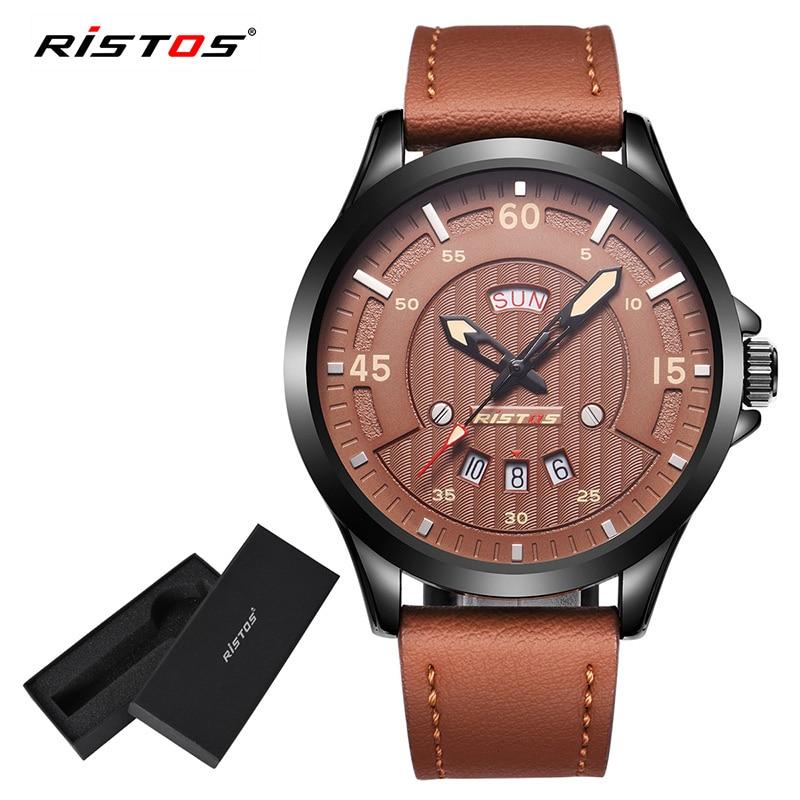 RISTOS Man Sport Wristatch Men Quartz Analog Watch Male Fashion Casual Leather Watches Reloj Masculino Hombre Date Calendar 9321 analog watch