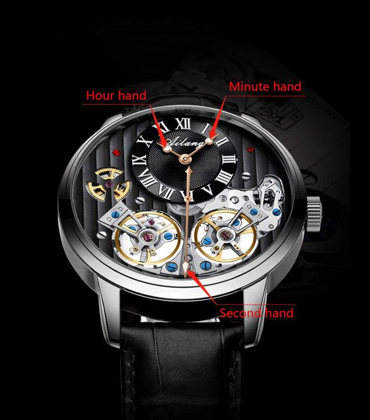 Ailang luxo preto relógio caro duplo tourbillon
