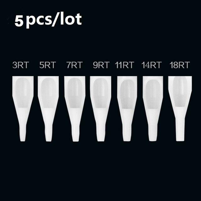 Caliente 5 piezas tatuaje consejos estéril surtidos desechable de plástico tatuaje consejos blanco boquillas tubo Mezclar 10 tamaño 3/5 /7/9RT 3/5/7/9DT 7FT/9FT