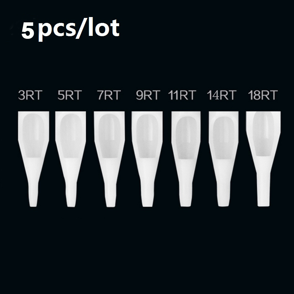 Hot 5Pcs Tattoo Tips Sterile Assorted Plastic Disposable Tattoo Tips White Nozzles Tube Mix 10 Size 3/5/7/9RT 3/5/7/9DT 7FT/9FT