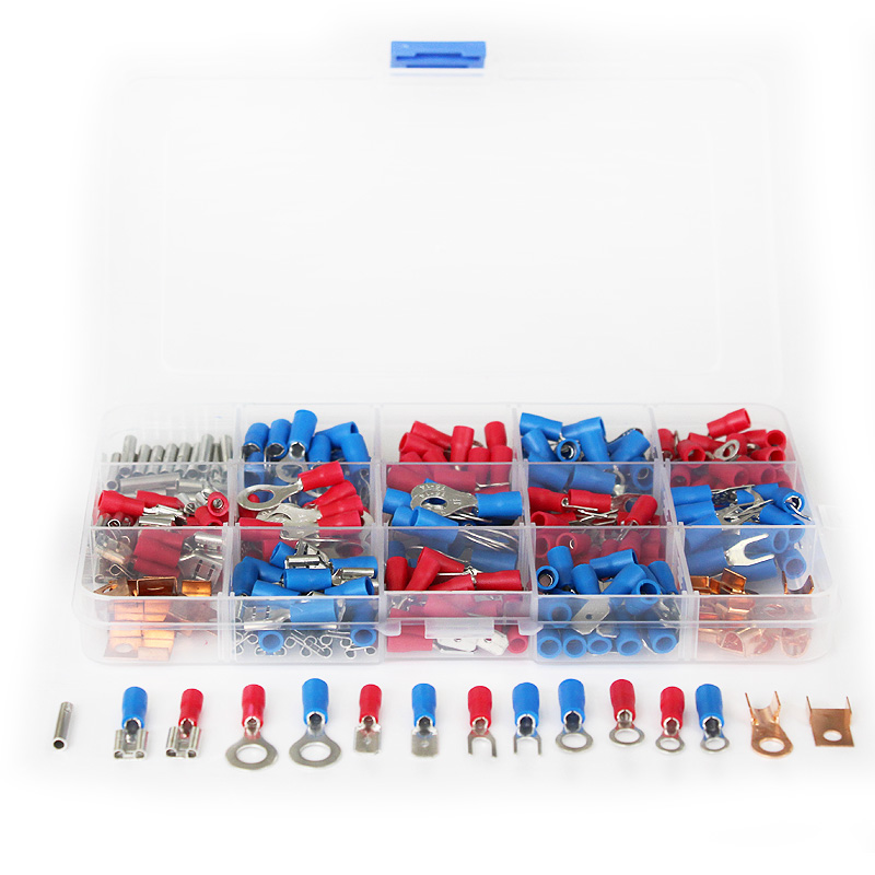 300Pcs Insulated Electrical Wire Terminals Crimp Assorted Butt Connector Set Red Blue 300pcs assorted insulated electrical wire terminals crimp connector spade set red yellow blue