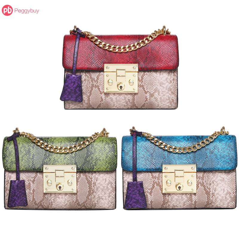 Patchwork Women Small Chain Shoulder Bags Fashion PU Leather Crossbody Bag Female Snake Skin Evening Party Clutches Handbags hot sale evening bag peach heart bag women pu leather handbag chain shoulder bag messenger bag fashion women s clutches xa1317b