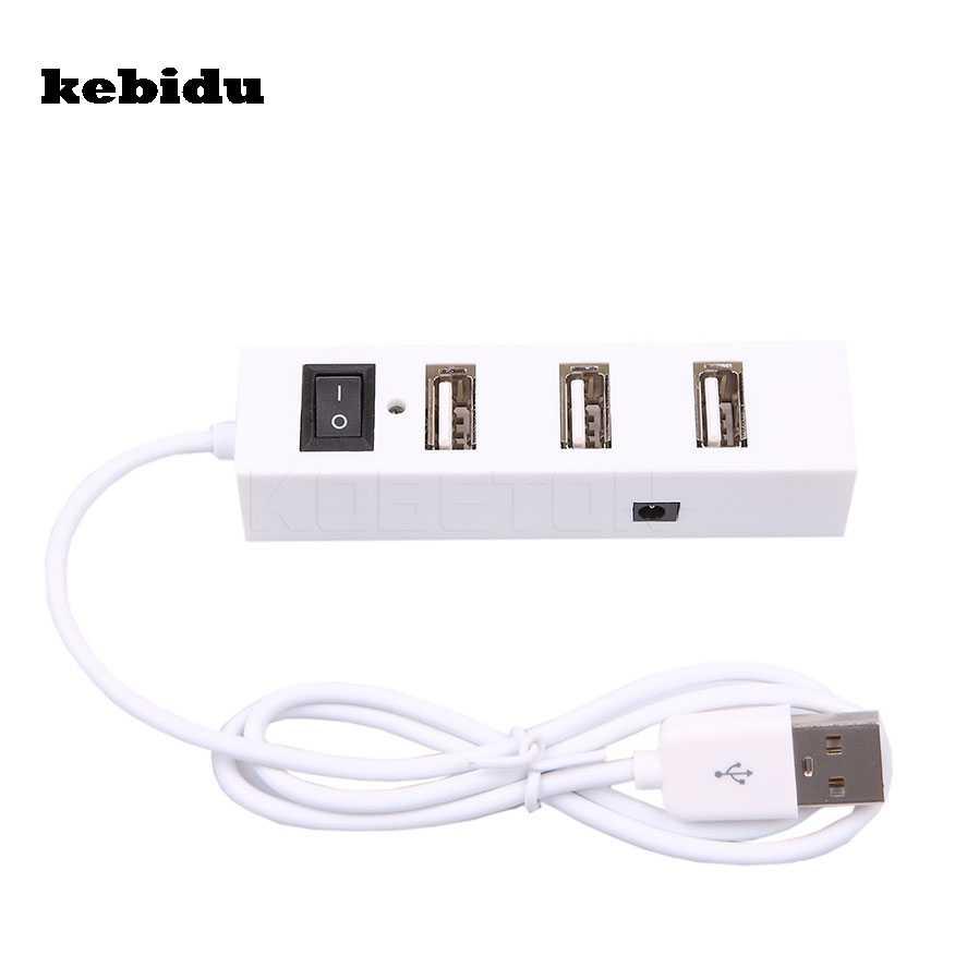 Kebidu خارجي متعدد المحور التوسع 4 منافذ USB 2.0 On/Off موزع فصل USB محاور ل ويندوز ل XP Vista/7 ل ماك OS 9.1