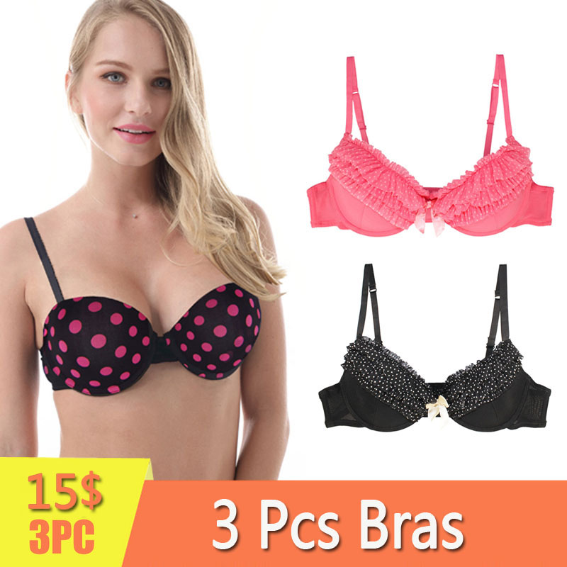 Pack 1 or 3 pcs Women Underwear Light Padded Underwire Bras Invisible Brassiere