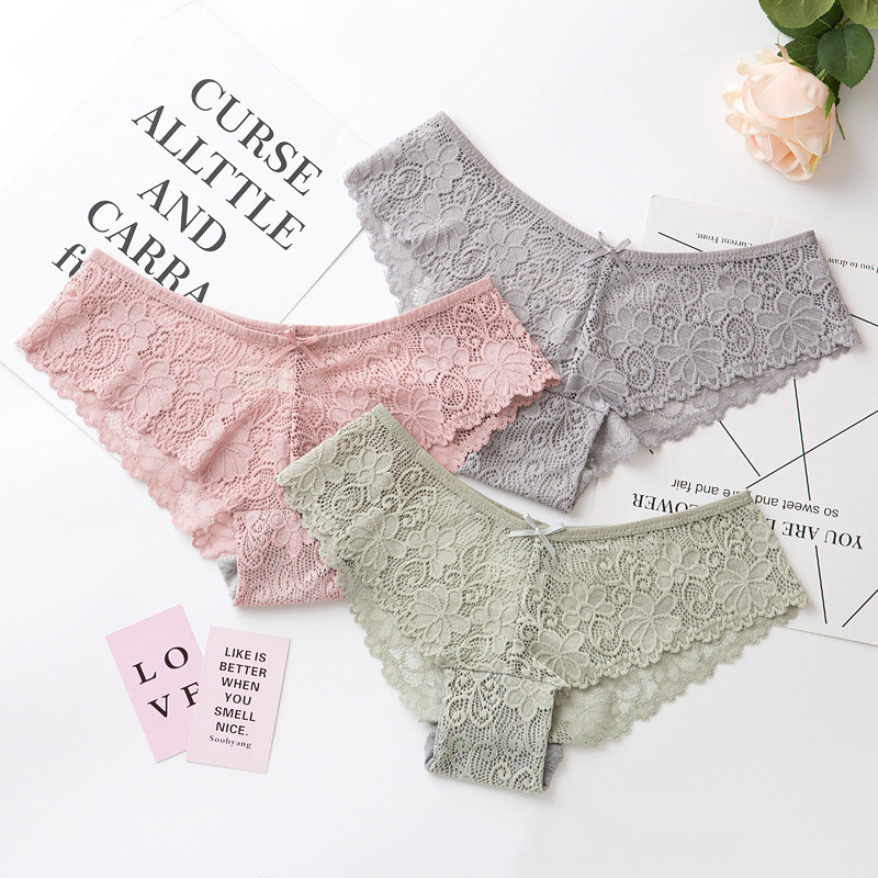 Sexy Lace Panties Women Fashion Cozy Lingerie Tempting Pretty Briefs High Quality Cotton Low Waist Cute Women Underwear(China)