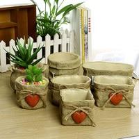 2016 New Cute Hot Sell Imitation Linen Bag Pots Personality Love Retro Cement Garden Flowerpot Home