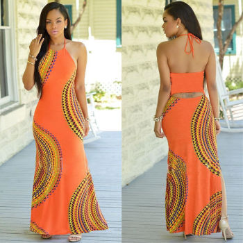 New Fashion Women Halter Dress Sleeveless Female Party Dress Ladies Printing Boho Maxi Long Dress Evening Party Dress Plus Size 1