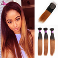 Brazilian Straight Hair With Closure 1B 30 Ombre Brazilian Hair With Closure Honey Blonde Straight Remy Human Hair With Closure