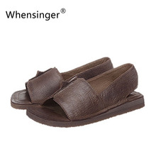 Whensinger – 2017 Women Slides Genuine Leather Summer Sandals Slip On Leisure Shoes Solid Style A8-1