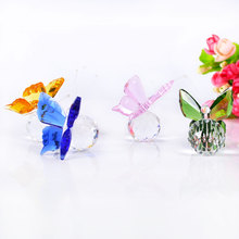 Handmade Crystal Butterfly 4 Colors Glass Animal Figurines Miniatures Model DIY Gifts Home Decoration Accessories Wedding Gift