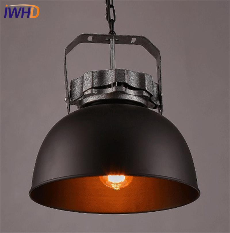 IWHD Loft Style Iron Vintage Pendant Light Fixtures RH Edison Industrial Lamp Dining Room Hanging Droplight Indoor Lighting rh loft edison industrial vintage style 1 light tea glass pendant ceiling lamp hotel hallway store club cafe beside
