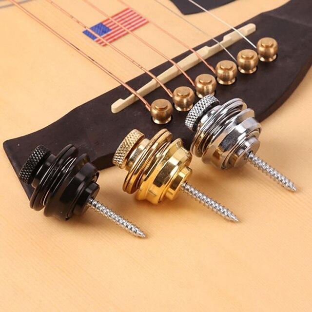 1 correa de Pcgritar fácil de fijar y quitar el tornillo cabeza plana cromada Straplock cerradura para guitarra eléctrica acústica bajo tornillo