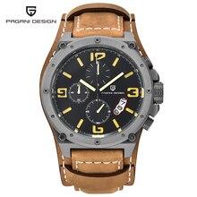 2016 pagani design marca única de diseño de moda hombres de los relojes de buceo 100 m deporte militar relojes de pulsera de cuero reloj de cuarzo dial grande