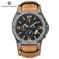 2016 PAGANI DISEÑO Marca Única de Diseño de Moda Hombres de Los Relojes de Buceo 100 M Deporte Militar Relojes de pulsera de Cuero Reloj de Cuarzo Dial Grande