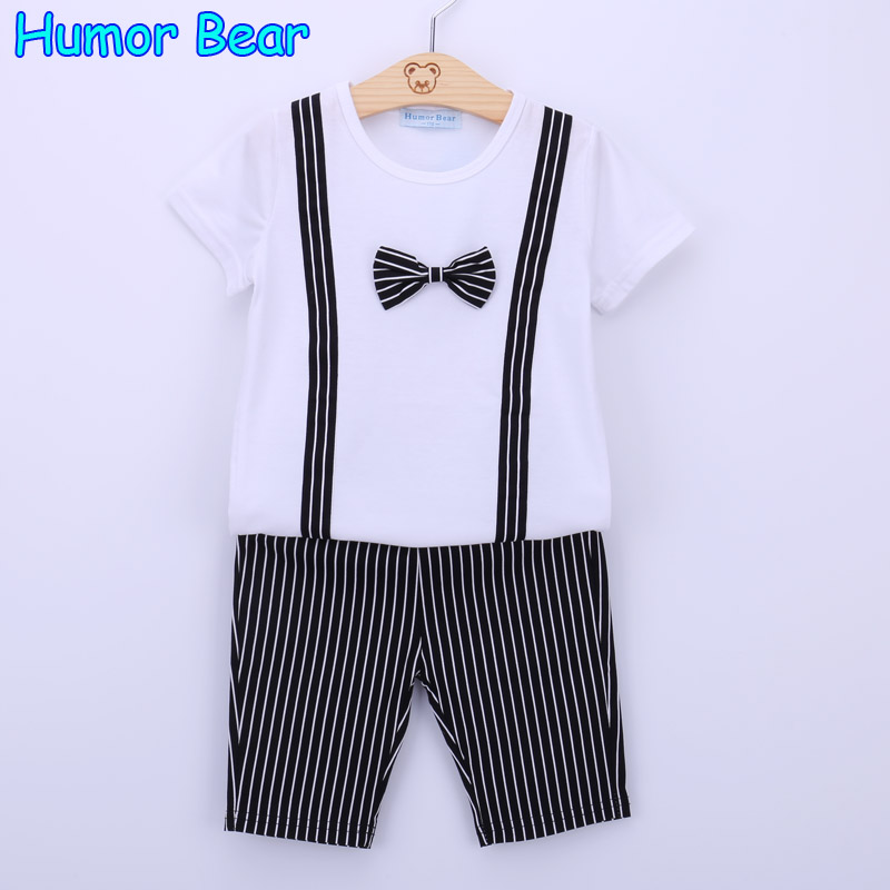Humor Bear Baby Boys Summer Clothing Set Baby Boys Suit  Bowknot T-Shirt + Stripe Pant Kids Clothes