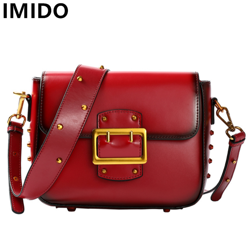 2018 Genuine Split Leather Women bags New Shoulder Crossbody Bag Lady Messenger Bags Fashion Flap Shape Rivet Women Handbags 2018 new fashion women handbags genuine leather bow patchwork cow leather bag lady shoulder crossbody messenger bags saddle