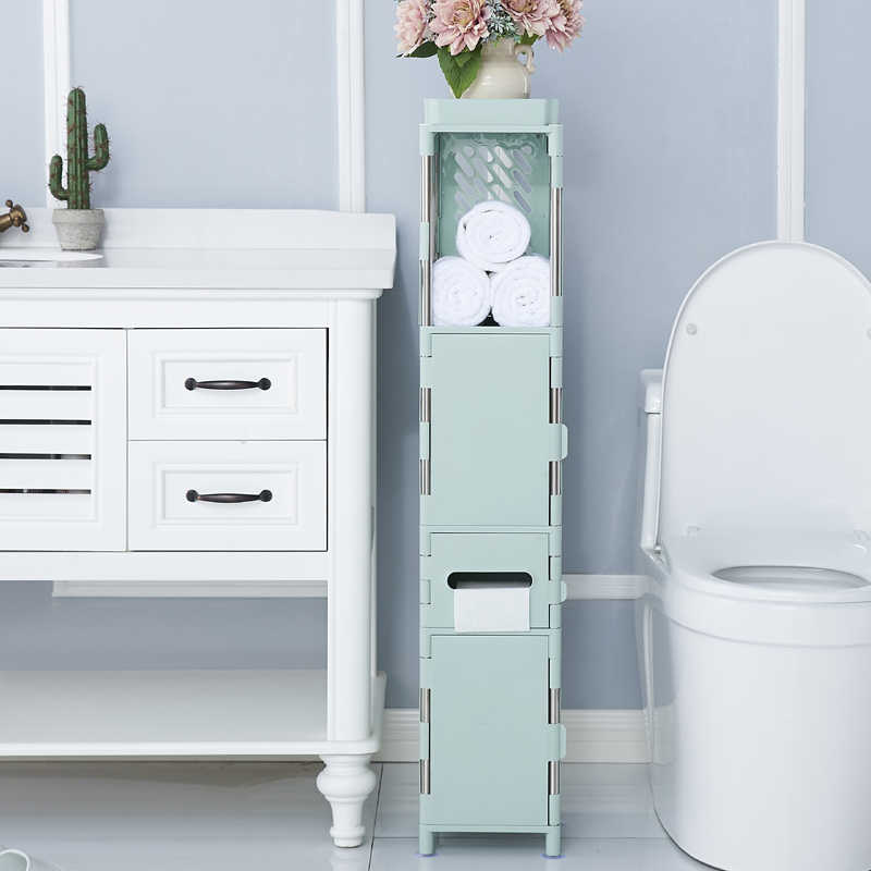 Bathroom floor waterproof shelf bathroom quilted storage cabinet shelf bathroom toilet side cabinet locker XI2281428