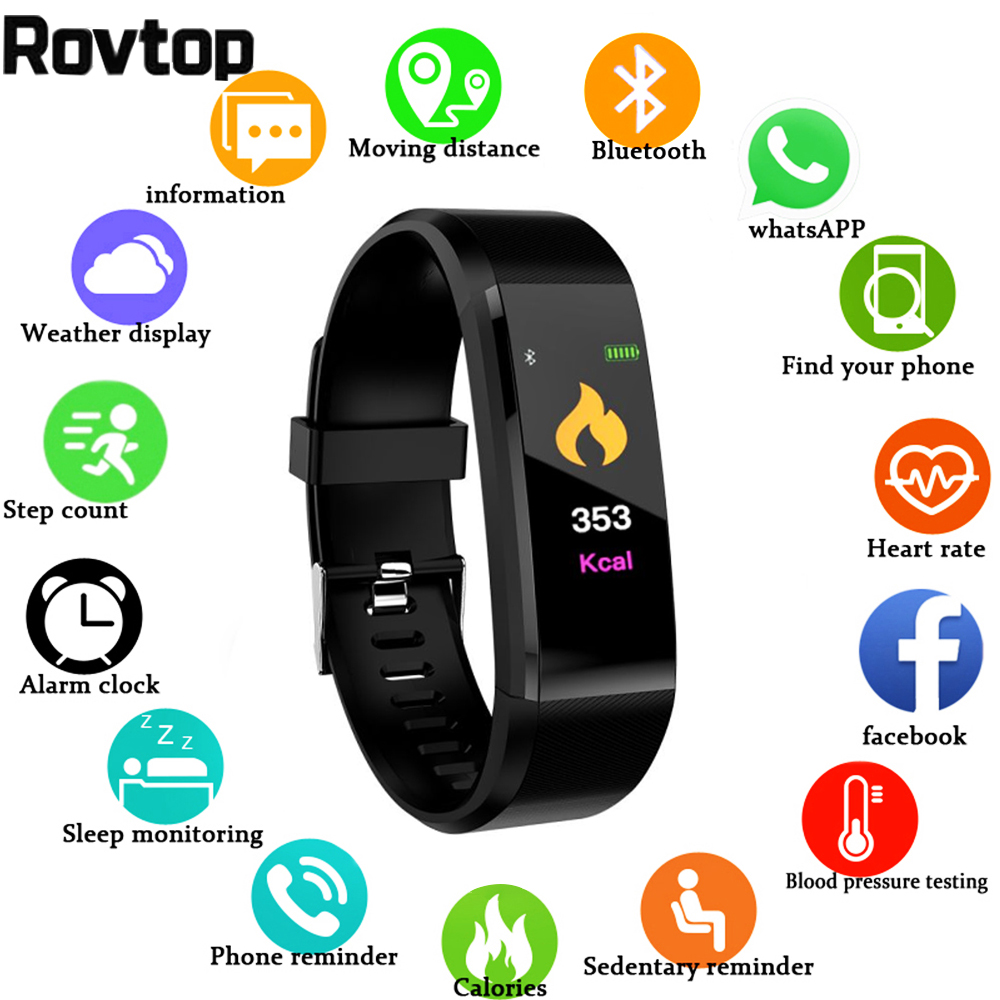 Rovtop nouvelle montre intelligente hommes femmes moniteur de fréquence cardiaque tension artérielle Fitness Tracker Smartwatch montre de Sport pour IOS Android title=