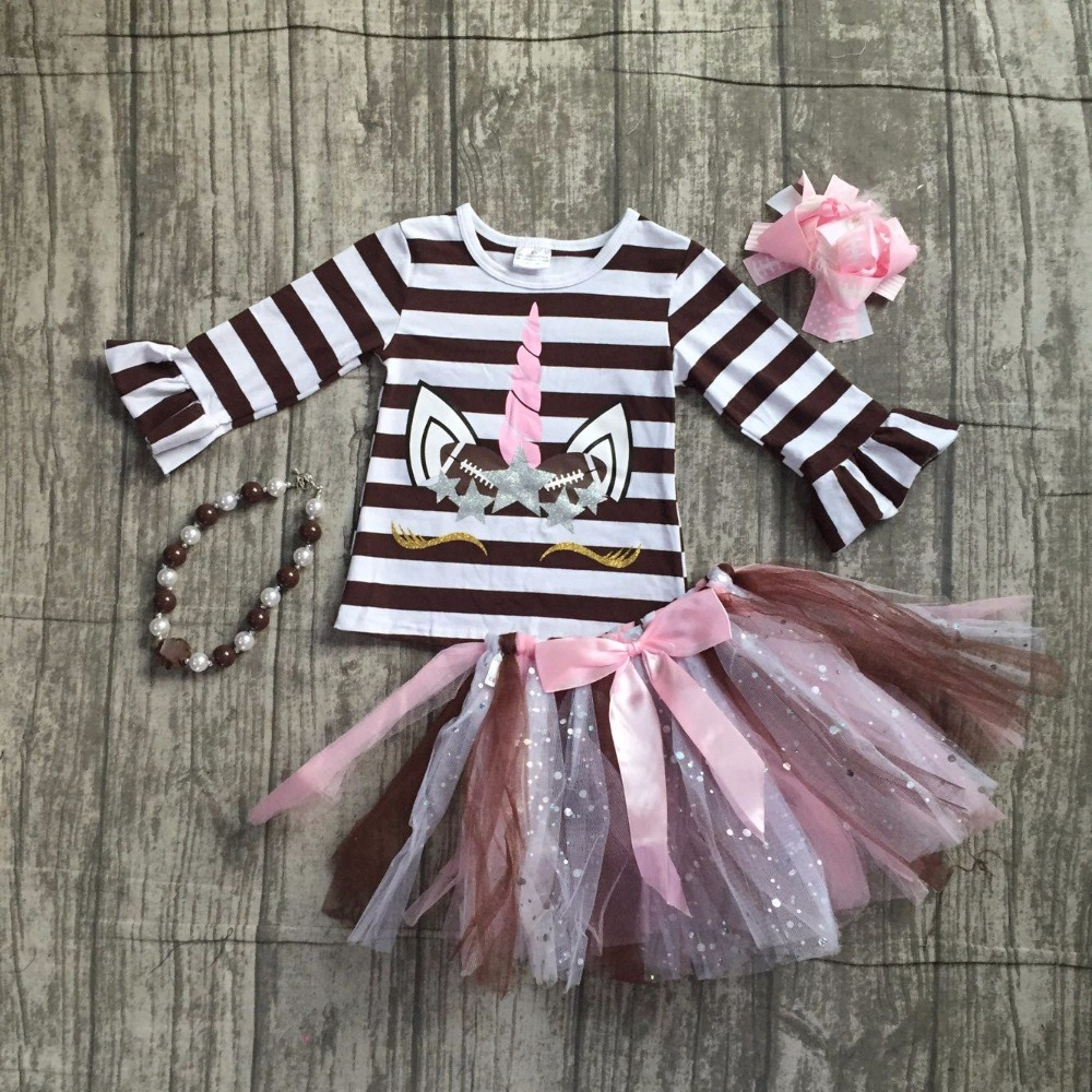 baby girls football season clothing baby girls stripes unicorn top with tutu skirts outfits long sleeve top with accessories cropped wide sleeve top