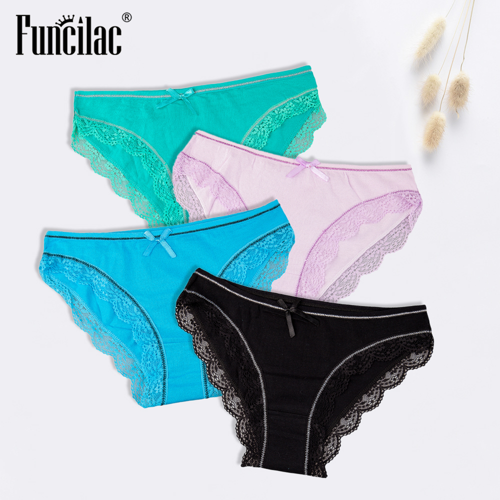 FUNCILAC Cotton   Panties   for women Sexy Lace Women Underwear Female Lingerie Ladies Intimate Briefs Solid Bow Low-Rise 4 pcs/set