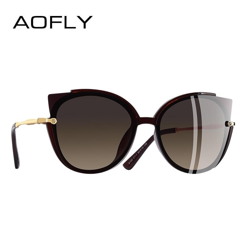 AOFLY бренд дизайн повелительницы поляризованных солнцезащитных очков Для женщин уникальный кадр кошачий глаз солнцезащитные очки Gafas UV400 A106