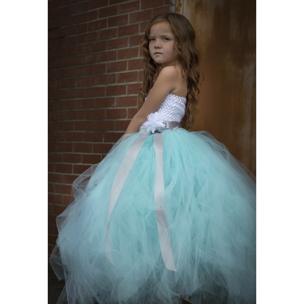 Pageant Elegant Aqua Couture Flower Girl Dress a silver sash Great ...