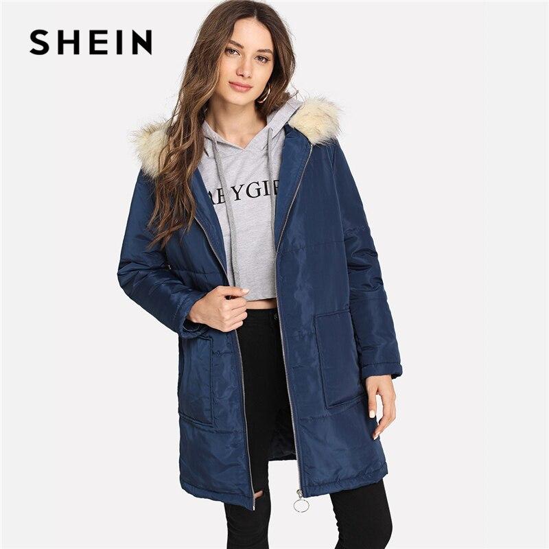 Шеин темно-синий элегантный консервативный контраст искусственный мех o-образное кольцо на молнии с капюшоном Стеганое пальто 2018 осень пов...
