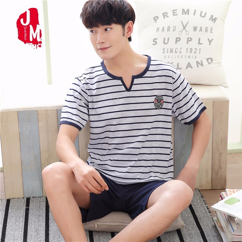 2018 Cotton Men Pajama Striped Casual Sleepwear Men V-Neck Summer Pyjamas Men's Pajamas Sets Cotton Short Sleepwears Men's Coton