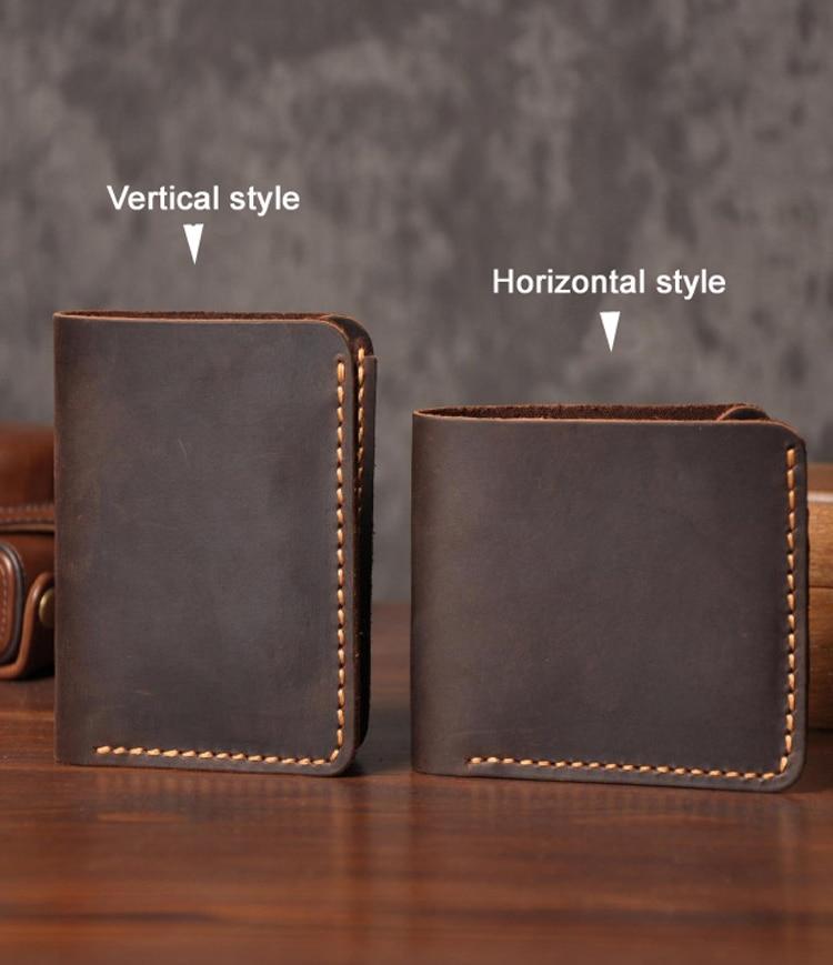 Image 2 - Handmade Vintage Crazy horse Genuine Leather Wallet Men Wallet Leather engrave Short Wallet Men Purse Male Money Clips Money bagmoney bagmale pursemen purse -
