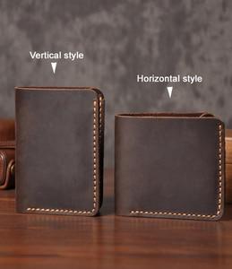 Image 2 - Handmade Vintage Crazy horse Genuine Leather Wallet Men Wallet Leather engrave Short Wallet Men Purse Male Money Clips Money bag