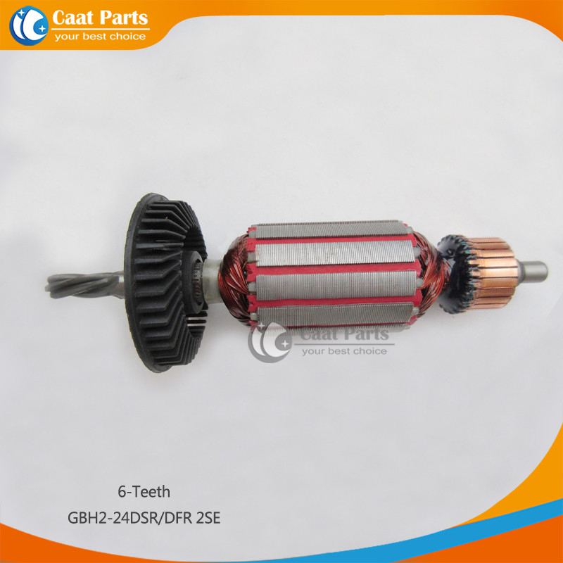 AC 220V 6-Teeth Drive Shaft Electric Hammer Armature Rotor for Bosch GBH2-24DSR/DFR 2SE, Brand New! Free shipping! ac 220v armature rotor for bosch gbh 2 26 dsr 26 gbh 2 26 dfr gbh2 26e de dre with 6 teeth shaft brand new free shipping