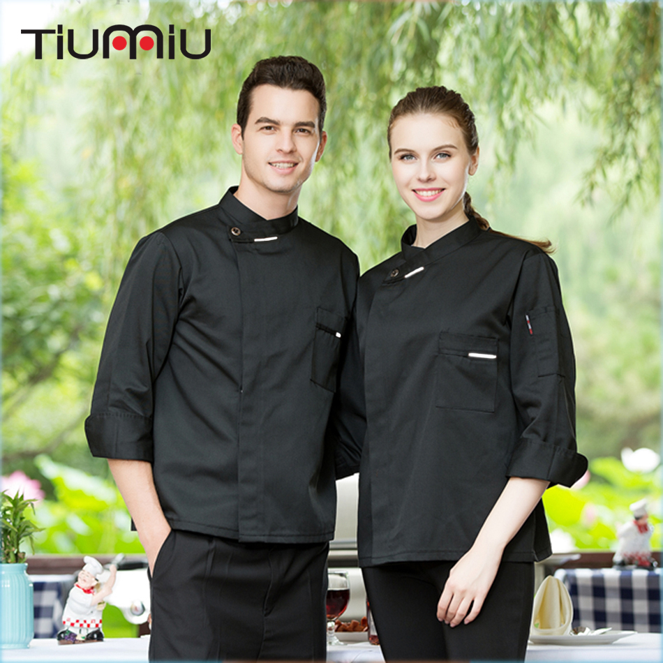 M-3XL Men Food Service Hotel Waiter Bakery Restaurant Women Chef Cook Uniform Long Sleeve Single Breasted Breathable Work Jacket
