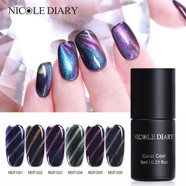 Nicole Diary 6ml Fantasy Magnetic Gel Polish 5d Cat Eye Nail Art Glitter Soak