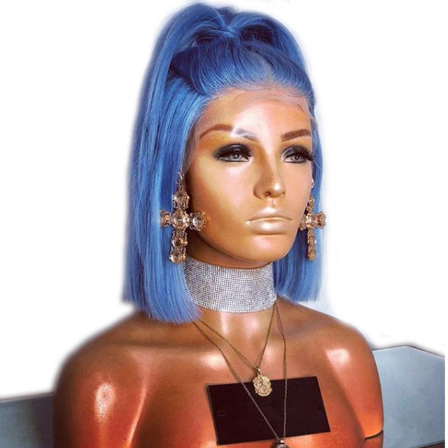 爆弾ライトスカイブルー合成レースフロントショートボブウィッグかつら耐熱性繊維の毛中間仕切女性