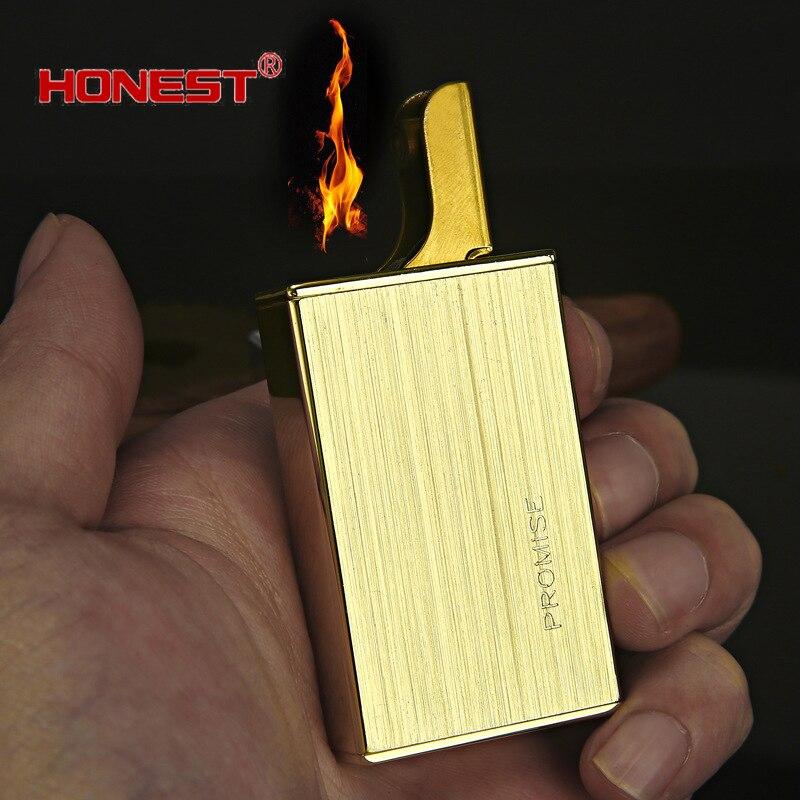 Честный латунный корпус газовые зажигалки металла возгорания для прикуривателя 55 мм * 35 мм * 15 мм гаджеты для мужские бутан факел
