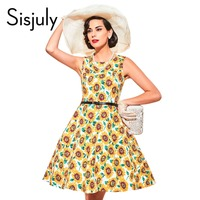 Sisjuly Vintage 1950s Festa Women Summer Yellow Dress Print Lemon Floral A Line Sashes Party Dress