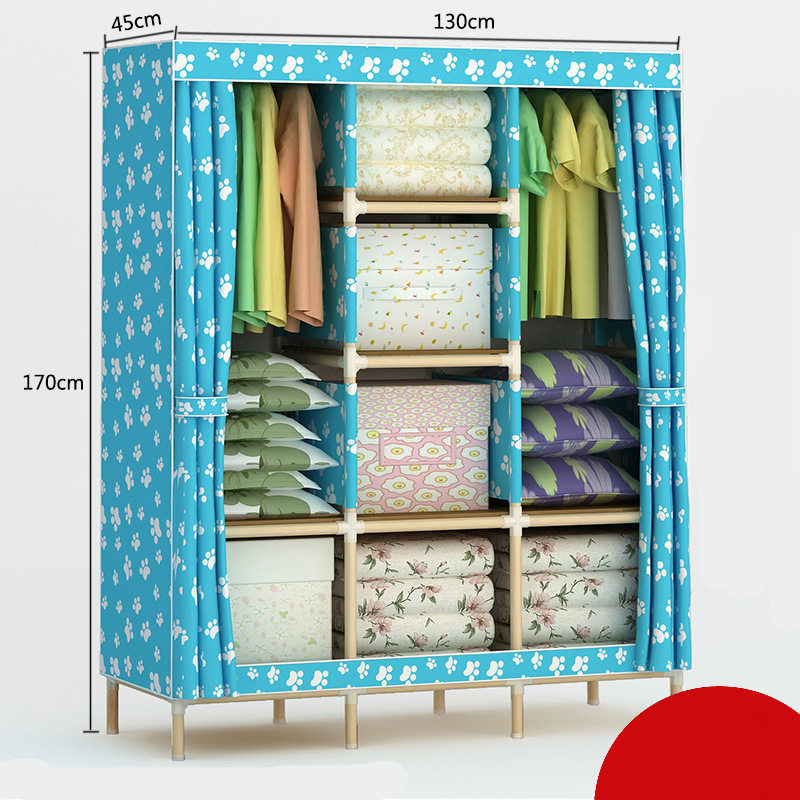 Solid wood Oxford Cloth Large Reinforcement Assembly Folding Wardrobe Closet Storage the new cloth wardrobe simple reinforcement of low housing assembly large folding cloth